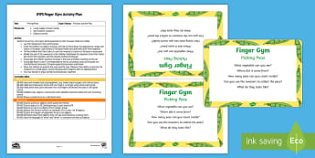 EYFS Picking Peas Finger Gym Plan and Prompt Card Pack - finger gym, funky fingers, fine motor, pea pods, sugar snap peas, tweezers