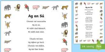 Poem: At the Zoo (Ag an sú) Display Poster Gaeilge - ROI - Irish Language Week Gaeilge Resources - 1st-17th March,Irish