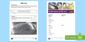 Milk Tart Recipe Worksheet / Activity Sheet - measurement, recipe, doubling, volume, mls, melktert, Milk tart, South African Traditions, food, tra