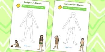 Adam and Eve Clothes Design Worksheets - religion, RE, design