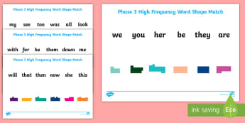 Phase 3 High Frequency Word Shape Match Activity Sheet - key words, literacy, English, Dyslexia, Special Educational Needs, Word discrimination