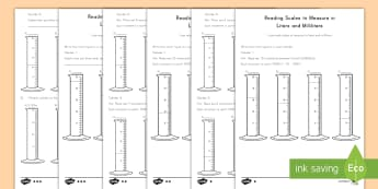 Reading Scales in Liters and Milliliters Differentiated Activity Sheets - measurement, volume and capacity, measure, compare, add and subtract, problem solving,