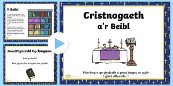 Pŵerbwynt a Thasgau ar gyfer CA1 Cristnogaeth a'r Beibl PowerPoint eglwys cristnogol