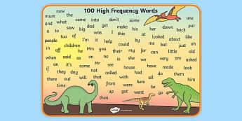 100 High Frequency Words Mat Dinosaur Theme - 100, high frequency, dinosaur