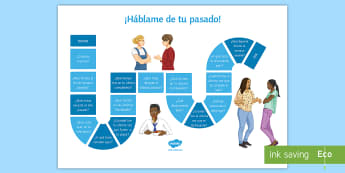 Tell Me About You Preterit Tense Board Game Spanish - Spanish, Speaking, Practice, tell, me, about, you, preterit, tense, board, game, events, past