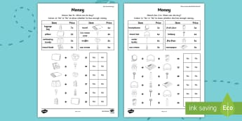 Up, Up and Away! Money Addition Problems Activity Sheet - worksheet, rOI, Exploring Our world, aistear, money, money addition, worksheet, story, travel, holid