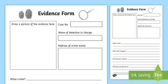 Detective Role Play Evidence Form - detectives, roleplay, props