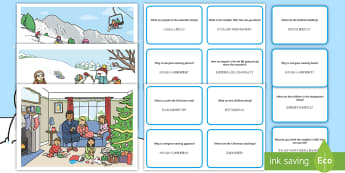 Winter Scene and Question Cards English/Mandarin Chinese - winter scenes, question cards, pack, Christmas, Skiing, Snowboard, Sledging, EAL