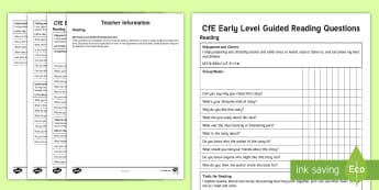 Early Level Guided Reading Questions Assessment Tracker - CfE, Literacy, Guided Reading, Early Level, Questions, Tracker,Scottish