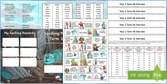 Year 3 Alice in Wonderland Themed Spelling Menu Pack - spag, gps, home learning, weekly, lists, test,