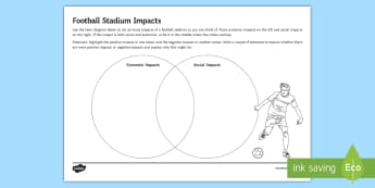Football Stadium Impacts Activity Sheet - In the Shadow of the Stadium, economy, impacts, advantages, disadvantages, environment, social, plan