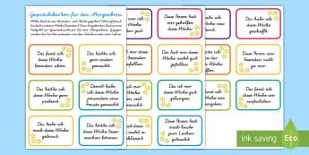 Gesprächskarten für den Morgenkreis : DIN A4 Karteikarten - DE Klassenorganisation (Classroom Organisation), Redeanlass, Gesprächskarten, Morgenkreis, Kl.1/2,