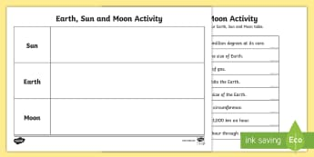 Earth Sun and Moon Fact Table Activity - earth sun and moon fact worksheet, earth sun and moon fact sorting worksheet, solar system worksheet, ks2 science