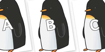A-Z Alphabet on Penguin to Support Teaching on Lost and Found - A-Z, A4, display, Alphabet frieze, Display letters, Letter posters, A-Z letters, Alphabet flashcards