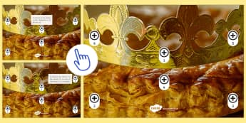 Image à zones interactives : La galette des rois - Épiphanie, 6 janvier, fête, rois, couronne, fève, gâteau, célébration, famille