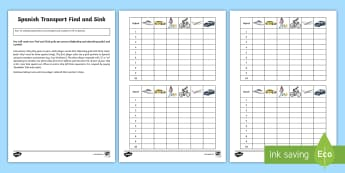 Transport Find and Sink Board Game Spanish - Spanish, Vocabulary, KS2, numbers, transport, battleships, board, game, activities, find, sink