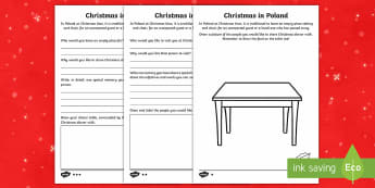 KS1 Christmas in Poland Differentiated Activity Sheet - Christmas, Nativity, Jesus, xmas, Xmas, Father Christmas, Santa, Worksheet,St Nic, Saint Nicholas, t