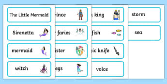 The Little Mermaid Word Cards - story books, visual aid, keywords
