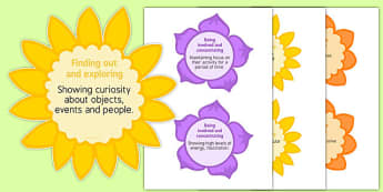 EYFS Characteristics of Effective Learning Statements on Flowers - COEL, finding out, exploring, focus, concentrate, motivated, engages, eyfs, development matters, confidence, early years, foundation, reception, nursery, display, staff, teachers, nur
