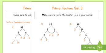 Prime Factors Activity - prime factors, numbers, math, activity, factor tree