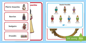 Snow White and the Seven Dwarves Resource Pack Gaeilge - ROI - Snow White and the Seven Dwarves - Gaeilge,úll, nimh, cailleach, banríon, Plúirín Sneachta