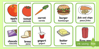 Healthy and Unhealthy Foods Sorting Activity English/Italian - Healthy And Unhealthy Sorting Activity - food, sorting card, flashcards, sort, healthy, unhealthy, a