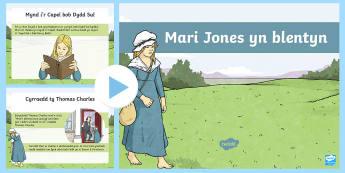 Pŵerbwynt Mari Jones a'r Beibl - Wynebau Enwog Cymru, Enwog, Wynebau Cymru, Hanes. Mari Jones, Beibl, Bala, Beibl Cymraeg, cerdded, T