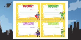 Superhero Wow Moment Parent Slips - EYFS, Early years, Wow cards, wow moments, transition