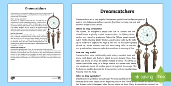 All About Dream Catchers Fact Sheet  - Dream catcher, aboriginal, native america, indigenous, canadian