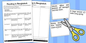 Flooding in Bangladesh Worksheet / Activity Sheet - bangladesh, flooding, worksheet