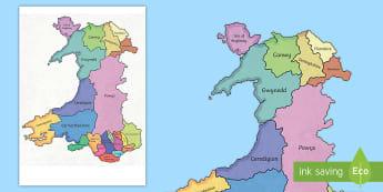 Map of Wales Display Pieces - Cennin Pedr, cennin, daffodil, leek, Cymru, Wales, Welsh, Cymraeg, lleoliad, siroedd, counties, loca