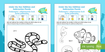 Under the Sea Theme Addition and Subtraction Puzzle 0-10 English/Polish - Under the Sea Themed Addition and Subtraction Puzzle 0-10 - under the sea, under the sea numeracy pu