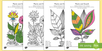 Plants and Growth Themed 2, 5 and 10 Times Color by Number Activity Sheets - math, color by numbers, coloring, art, plants