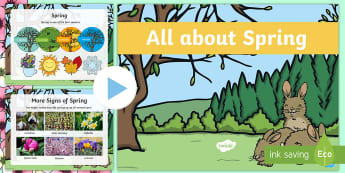 EYFS All about Spring PowerPoint - Seasons, Weather, New Life, Plants and Flowers, Growth.