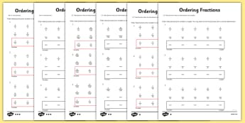 Year 5 Ordering Fractions Activity Sheet - year 5, ordering fractions, ordering, fractions, activity, sheet, worksheet