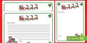Letter to Santa Writing Template - Santa, writing, template, letter, creative writing, independent