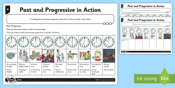 Differentiated Past and Progressive Tense in Action Activity Sheet Pack - verbs, verb, tense, tenses, conjugate, infinitive, spag, grammar, ks1, worksheet