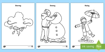 Weather Colouring Pages - Sun, Rain, Rainbow, Snow, Seasons.