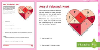 Area of Valentine's Heart Activity Sheet - Maths, area, Valentine, tangram, shape, worksheet, formula, trapezium