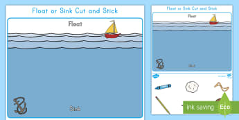 Float or Sink? Cut and Stick Activity Sheet - physical science, Force and Motion, Experiment, concepts, prediction