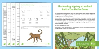 LKS2 The Monkey Mystery at the Animal Antics Zoo Maths Game - animal antics zoo, coordinates, puzzles, 24-hour clock and 12-hour clock conversion, dividing by 10