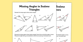 Calculating Angles of Scalene Triangles Worksheet / Activity Sheet - calculating, angles, scalene triangle, worksheet / activity sheet, maths, numeracy, worksheet