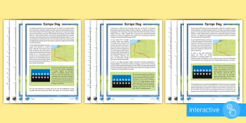 Europe Day Differentiated Comprehension Go Respond  Activity Sheets - Scotland, Europe, Europe Day, European Union, 9th May, KS2, Go Respond, tablet, pdf, screen, English