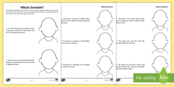 Which Emotion Activity Sheet - change, feelings, behaviour, empathy, young people, families, Transition, worksheet