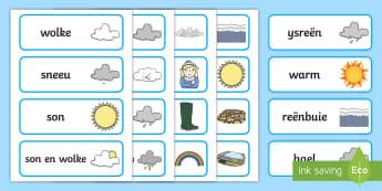 Weer Woordkaarte  - seisoene, koud, warm, reen, son, wind, geletterdheid