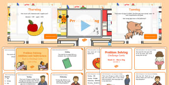 Week 14 - Problem Solving - One a Day - Resource Pack -  Word Problems, Addition, Subtraction, Challenge, Solving, RUDE,Irish