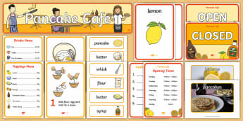 Pancake Cafe  Role Play Pack - Pancake Day, UK, Feb, 28th, shrove Tuesday, pancakes, lent,