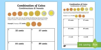 Euros Combination of Coins Activity Sheet English/ Italian - money, europe, european union, currency, euros, euro, €, worksheet, EAL