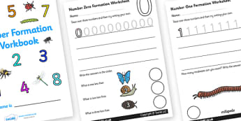 Number Formation Workbook (Minibeasts) - education, home, free, overwriting