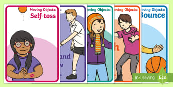 Object Movement Display Poster - object movement, throw, toss, catch